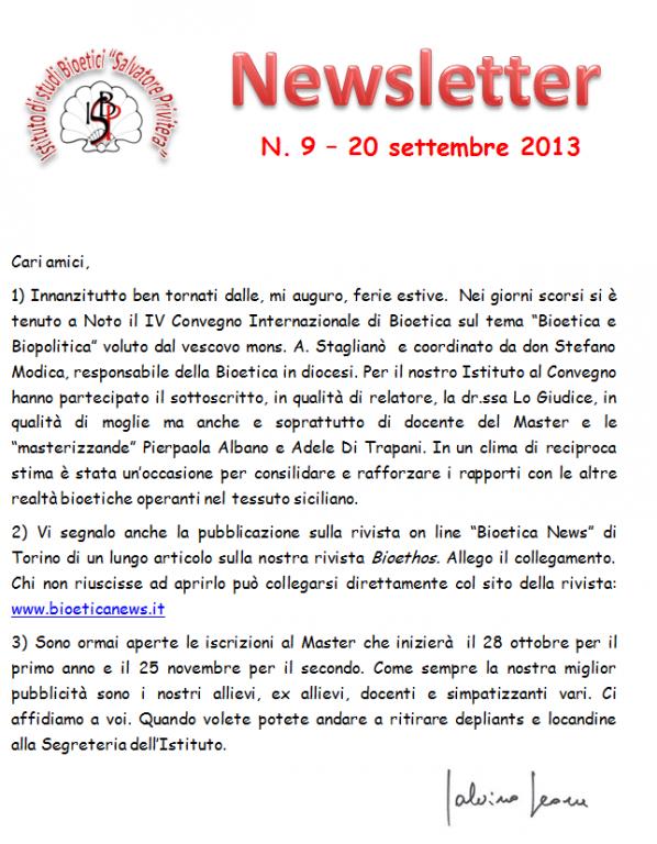 News -settembre 2013